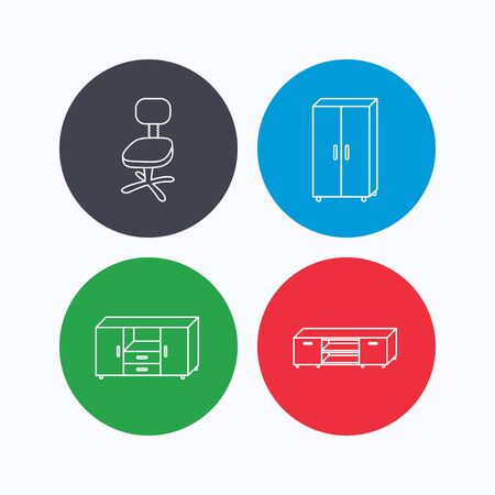 chest of drawers: Cupboard, TV table and office chair icons. Chest of drawers linear sign. Linear icons on colored buttons. Flat web symbols. Vector