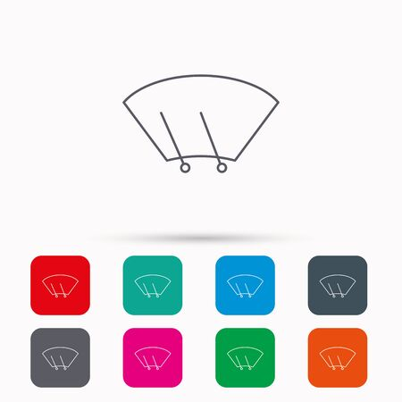 windshield: Windscreen wipers icon. Windshield sign. Linear icons in squares on white background. Flat web symbols. Vector