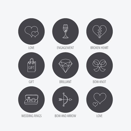 shopping champagne: Love heart, gift box and wedding rings icons. Broken heart and engagement linear signs. Valentine amour arrow, brilliant flat line icons. Linear icons in circle buttons. Flat web symbols. Vector Illustration
