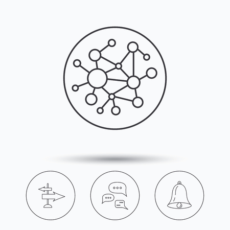 global direction: Conversation, global network and direction icons. Bell alarm signal linear sign. Linear icons in circle buttons. Flat web symbols. Vector Illustration