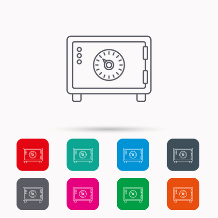 safe lock: Safe icon. Money deposit sign. Combination lock symbol. Linear icons in squares on white background. Flat web symbols. Vector