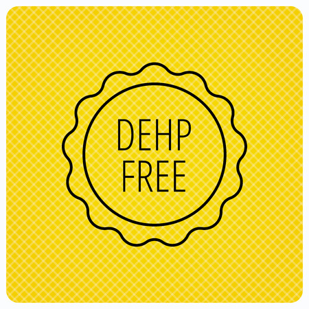 nontoxic: DEHP free icon. Non-toxic plastic sign. Linear icon on orange background. Vector