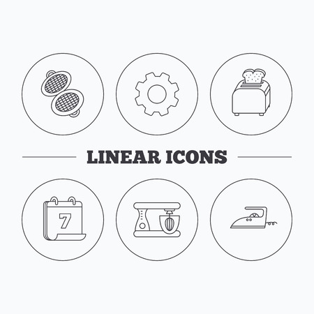 flat iron: Iron, toaster and blender icons. Waffle-iron linear sign. Flat cogwheel and calendar symbols. Linear icons in circle buttons. Vector