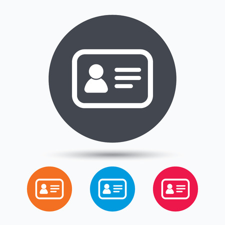 identification: ID card icon. Personal identification document symbol. Colored circle buttons with flat web icon. Vector