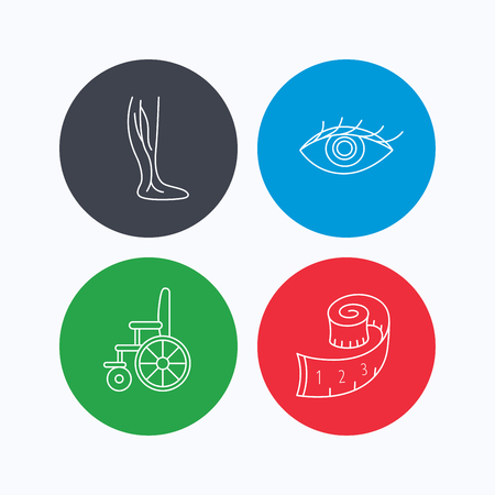 vision loss: Vein varicose, wheelchair and weight loss icons. Eye linear sign. Linear icons on colored buttons. Flat web symbols. Vector Illustration