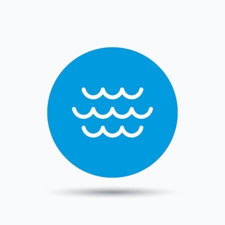 water stream: Wave icon. Water stream symbol. Blue circle button with flat web icon. Vector Illustration