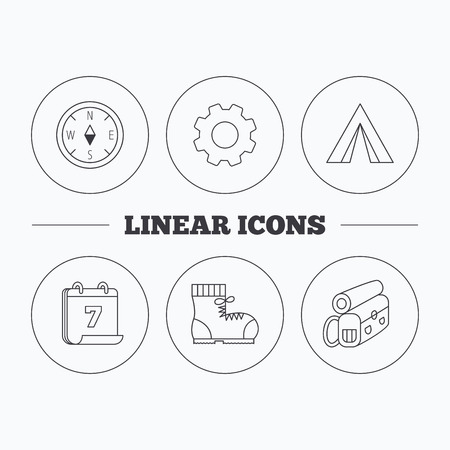 Backpack, camping tent and compass icons. Boots linear sign. Flat cogwheel and calendar symbols. Linear icons in circle buttons. Vector Illustration