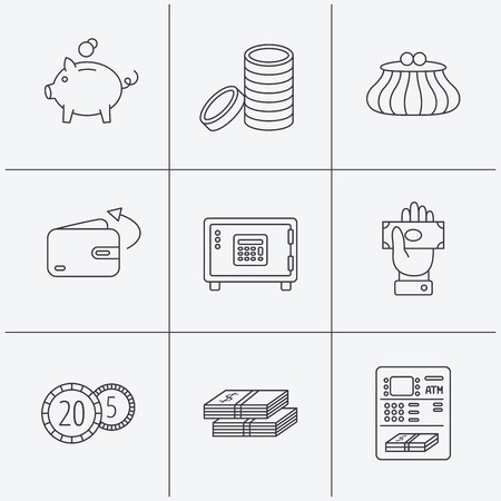fireproof: Piggy bank, cash money and wallet icons. Safe box, send money and dollar usd linear signs. Give money, coins and ATM icons. Linear icons on white background. Vector