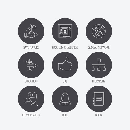 global direction: Global network, like and conversation icons. Book, bell and direction arrows linear signs. Save nature, maze and hierarchy icons. Linear icons in circle buttons. Flat web symbols. Vector