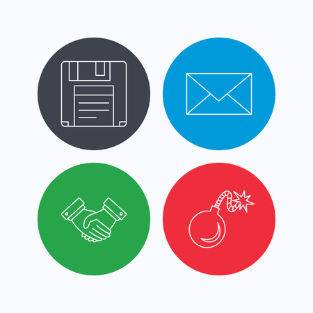 email bomb: Mail, bomb and handshake icons. Floppy disk linear sign. Linear icons on colored buttons. Flat web symbols. Vector