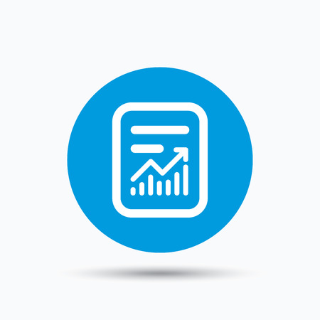 blue icon: Report file icon. Document page with statistics symbol. Blue circle button with flat web icon. Vector
