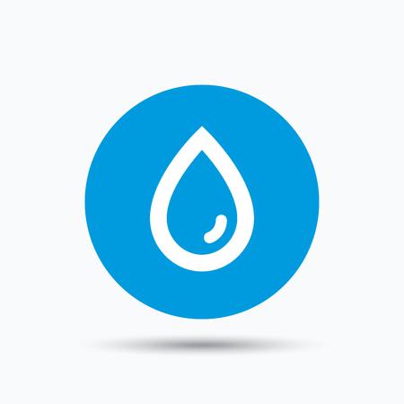 Wassertropfen-Symbol. Natürliche aqua-Symbol. Blau Kreis-Taste, mit flachen Web-Symbol. Vektor
