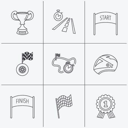 race winner: Winner cup and award icons. Race flag, motorcycle helmet and timer linear signs. Road travel, finish and start flat line icons. Linear icons on white background. Vector