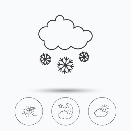 mist: Weather, mist and snow icons. Moon night, clouds linear signs. Linear icons in circle buttons. Flat web symbols. Vector