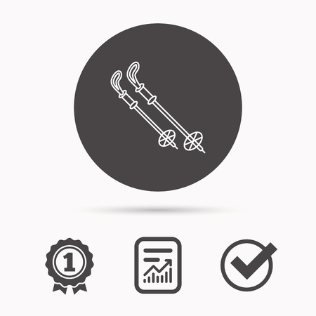 Skiing icon. Ski sticks or poles sign. Winter sport symbol. Report document, winner award and tick. Round circle button with icon. Vector