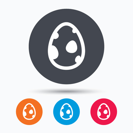 colored egg: Dinosaur egg icon. Birth symbol. Pokemon egg concept. Colored circle buttons with flat web icon. Vector