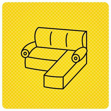 Corner Sofa Icon Comfortable Couch Sign Furniture Symbol Linear
