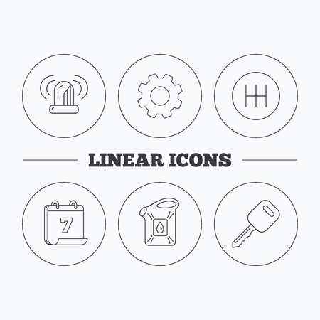 gearbox: Manual gearbox, jerrycan and car key icons. Siren alarm, fuel jerrycan linear signs. Flat cogwheel and calendar symbols. Linear icons in circle buttons. Vector Illustration