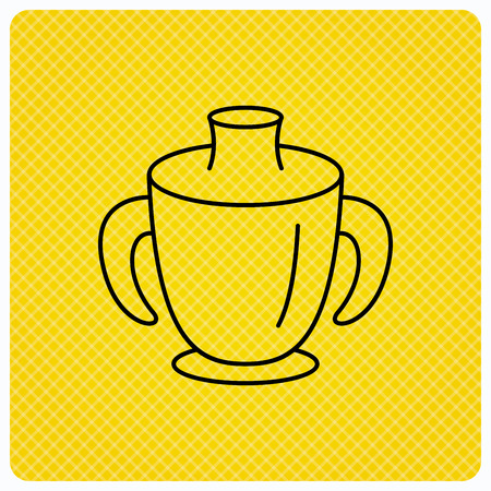 spill: Toddler spout cup icon. Baby mug sign. Flip top feeding bottle symbol. Linear icon on orange background. Vector Illustration