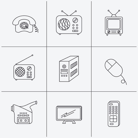 pc case: Radio, TV remote and video camera icons. Retro phone, PC case and mouse linear signs. Linear icons on white background. Vector