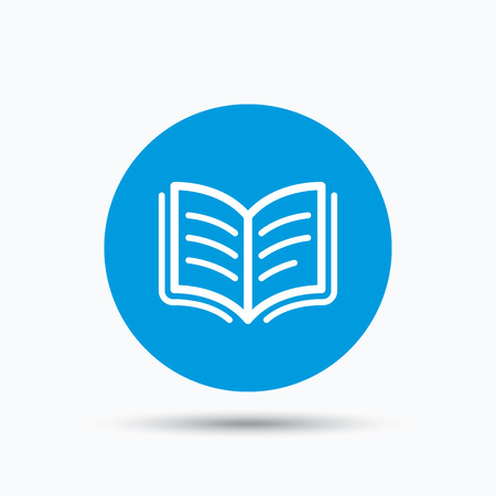 reading app: Book icon. Study literature sign. Education textbook symbol. Blue circle button with flat web icon. Vector