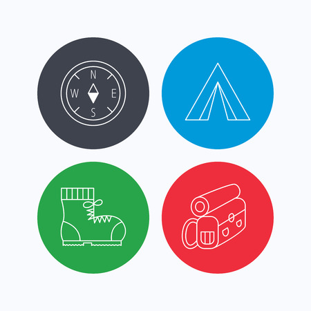 to tend: Backpack, camping tend and hiking boots icons. Compass linear sign. Linear icons on colored buttons. Flat web symbols. Vector