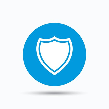 Shield protection icon. Defense equipment symbol. Blue circle button with flat web icon. Vector