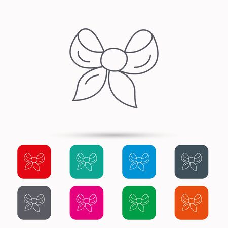 tied girl: Gift bow icon. Present decoration sign. Ribbon for packaging symbol. Linear icons in squares on white background. Flat web symbols. Vector Illustration