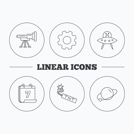 tnt: Ufo, planet and telescope icons. TNT dynamite linear sign. Flat cogwheel and calendar symbols. Linear icons in circle buttons. Vector Illustration