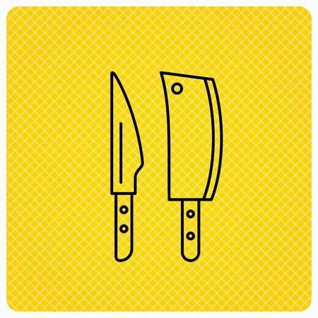 Butcher and kitchen knives icon. Chef tools symbol. Linear icon on orange background. Vector