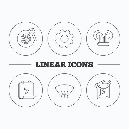 heated: Siren alarm, tire service and jerrycan icons. Heated window linear sign. Flat cogwheel and calendar symbols. Linear icons in circle buttons. Vector