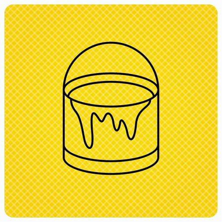 overhaul: Bucket of paint icon. Painting box sign. Linear icon on orange background. Vector