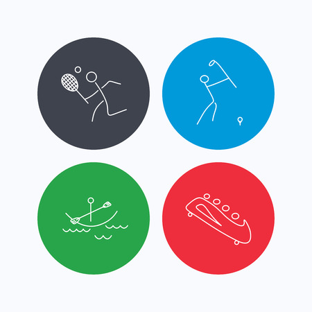 black white kayak: Boating, tennis and golf icons. Bobsled linear sign. Linear icons on colored buttons. Flat web symbols. Vector Illustration