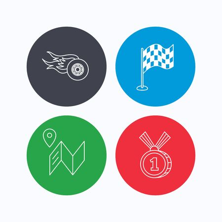 race winner: Race flag, map and winner award icons. First place medal, wheel on fire linear signs. Linear icons on colored buttons. Flat web symbols. Vector