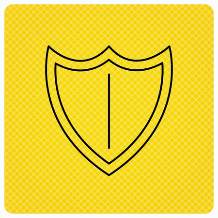 defence: Shield icon. Protection sign. Royal defence symbol. Linear icon on orange background. Vector Illustration