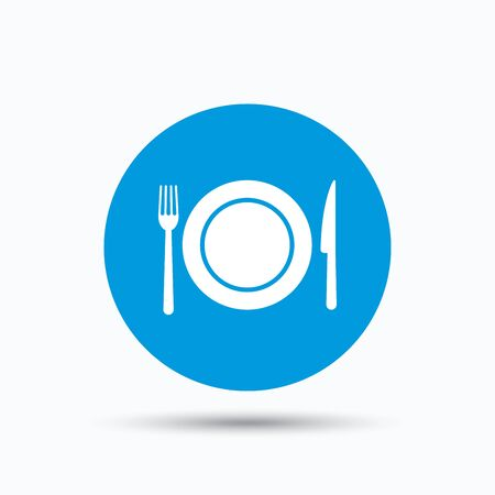 flatwares: Dish, fork and knife icons. Cutlery symbol. Blue circle button with flat web icon. Vector Illustration
