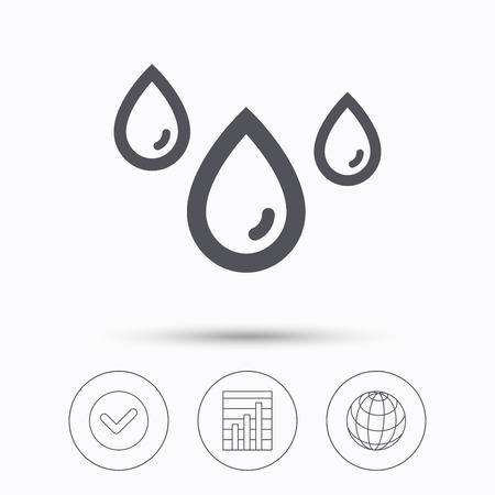 humidity: Water drop icon. Rainy weather symbol. Check tick, graph chart and internet globe. Linear icons on white background. Vector