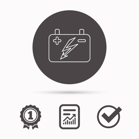 emitter: Accumulator icon. Electrical battery sign. Report document, winner award and tick. Round circle button with icon. Vector