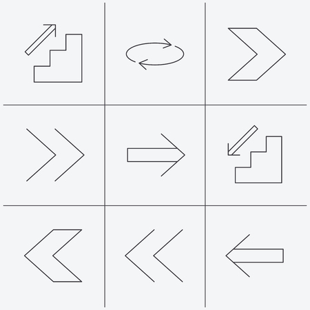 downstairs: Arrows icons. Upstairs, downstairs and repeat linear signs. Next, back arrows flat line icons. Linear icons on white background. Vector Illustration