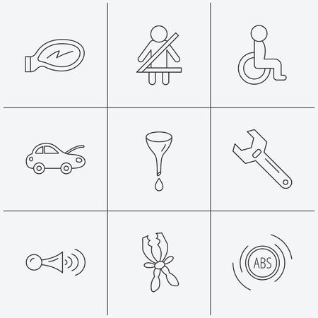 tool belt: Car mirror repair, oil change and wrench tool icons. ABS, klaxon signal and fasten seat belt linear signs. Disabled person icons. Linear icons on white background. Vector