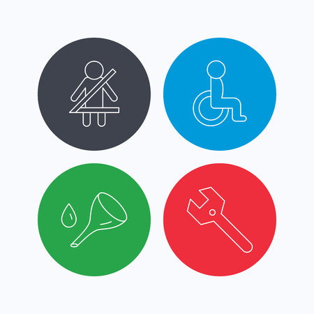 oil change: Wrench key, oil change and fasten seat belt icons. Disabled person linear sign. Linear icons on colored buttons. Flat web symbols. Vector