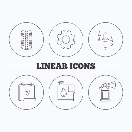 fire plug: Wheel, fire extinguisher and spark plug icons. Fuel jerrycan, tire tread linear signs. Flat cogwheel and calendar symbols. Linear icons in circle buttons. Vector