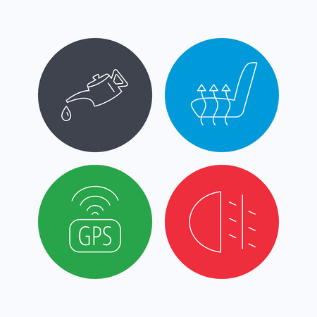 heated: Motor oil, passing fog lights and gps icons. Heated seats linear sign. Linear icons on colored buttons. Flat web symbols. Vector Illustration