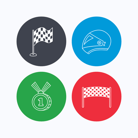 race winner: Race flag, checkpoint and motorcycle helmet icons. Winner award medal linear signs. Linear icons on colored buttons. Flat web symbols. Vector Illustration