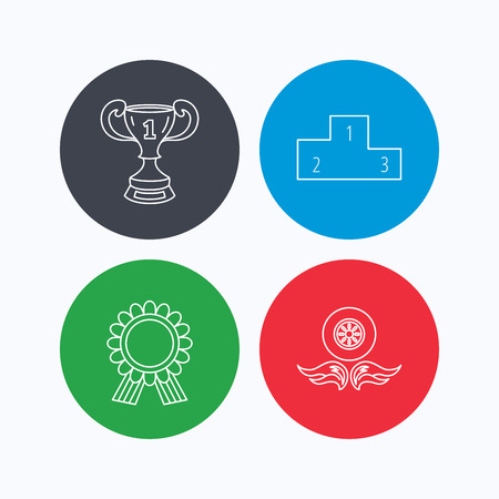 race winner: Winner cup, podium and award medal icons. Race symbol, wheel on fire linear signs. Linear icons on colored buttons. Flat web symbols. Vector Illustration