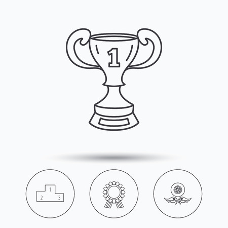 race winner: Winner cup, podium and award medal icons. Race symbol, wheel on fire linear signs. Linear icons in circle buttons. Flat web symbols. Vector