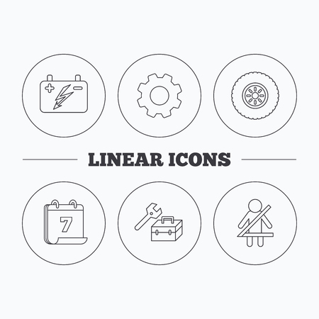 fasten: Accumulator, wheel and car service icons. Repair toolbox, fasten seat belt linear signs. Flat cogwheel and calendar symbols. Linear icons in circle buttons. Vector