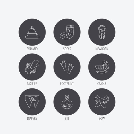 newborn footprint: Pacifier, diapers and newborn icons. Footprint, socks and dirty bib linear signs. Pyramid toy, cradle bed flat line icons. Linear icons in circle buttons. Flat web symbols. Vector