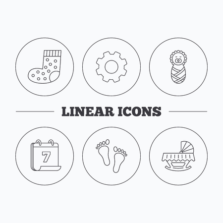 newborn footprint: Footprint, cradle and newborn baby icons. Socks linear sign. Flat cogwheel and calendar symbols. Linear icons in circle buttons. Vector Illustration