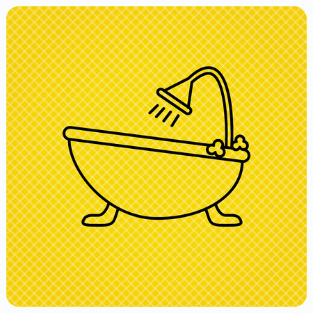 hot tub: Bathroom icon. Bath with shower sign. Linear icon on orange background. Vector